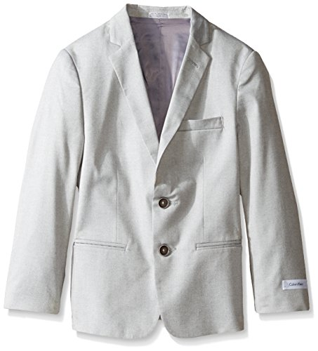 (Calvin Klein Big Boys' Patterned Blazer Jacket, Tick Weave Grey, 16)