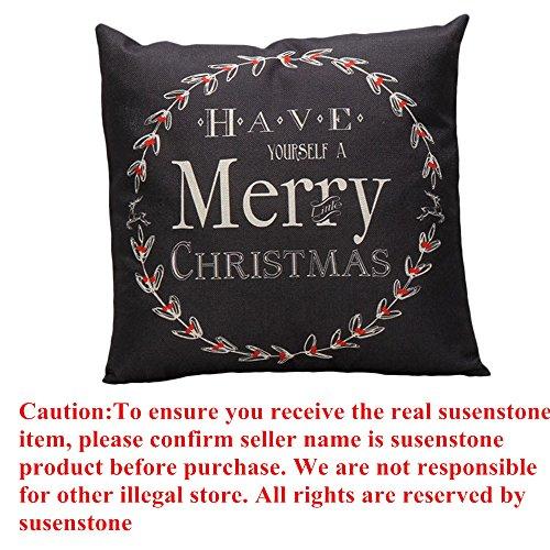 Susenstone Vintage Christmas Letter Sofa Bed Home Decoration Pillow Case (Black)