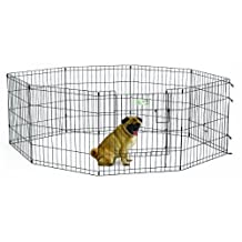 Midwest Homes for Pets Exercise Pen for Pets with Full Max Lock Door, 24-Inch, Black