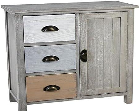 EN-222708 Portable Table de chevet Commode en bois avec 4 tiroirs en bois