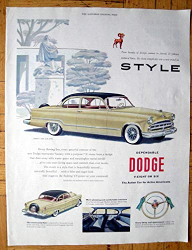 Challenger Hardtop - 1953 Dodge Coronet V-8 Club Coupe -2 Door Hardtop-Original 13.5 * 10.5 Magazine Ad