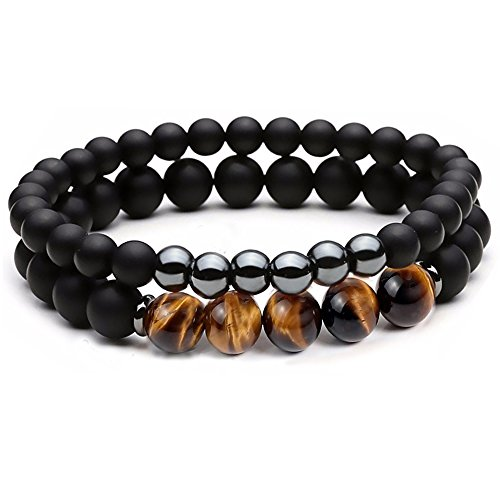 - Dolovely 8mm Natural Tiger Eye Stone Beads Bracelet Men Women Black Matte Onyx Elastic Stretch Bracelet