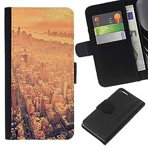 KLONGSHOP // Tirón de la caja Cartera de cuero con ranuras para tarjetas - EE.UU. Big City - Apple Iphone 5C //
