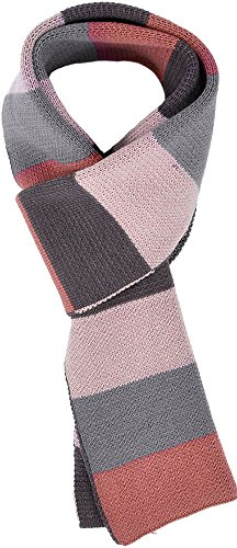 Men & Women's Long Thick Striped Tri-Tone Colored Knit Winter Scarf,Red Blue