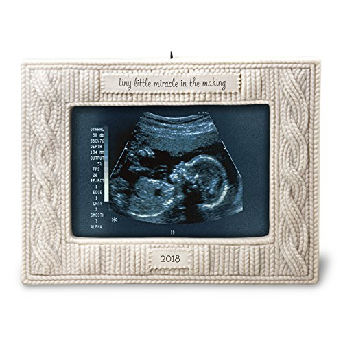 Hallmark Keepsake Christmas Ornament 2018 Year Dated Baby Gift Sonogram Picture Frame, Photo Frame Miracle in the Making Porcelain