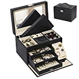 BEWISHOME Jewelry Box Organizer Case Display Storage W/Travel Case Large Mirrored 10 1/4'' x 7 1/16'' x 6 11/16'' Black PU Leather for Girls Women SSH53B