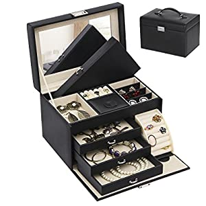 BEWISHOME Jewelry Box Organizer Case Display Storage W/Travel Case Large Mirrored 10 1/4″ x 7 1/16″ x 6 11/16″ Black PU Leather for Girls Women