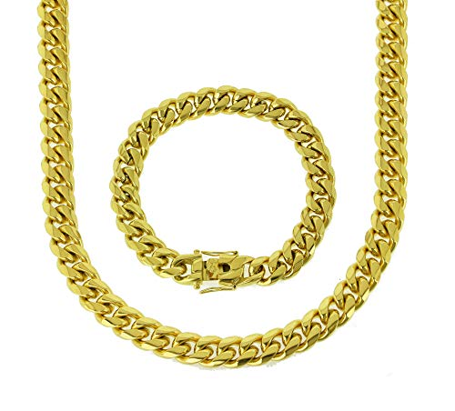 Bling Bling NY Anti-Tarnish Solid 18K Yellow Gold Finish Stainless Steel 12mm Thick Miami Cuban Link Chain Box Clasp Lock (Chain 18'' & Bracelet 8'')