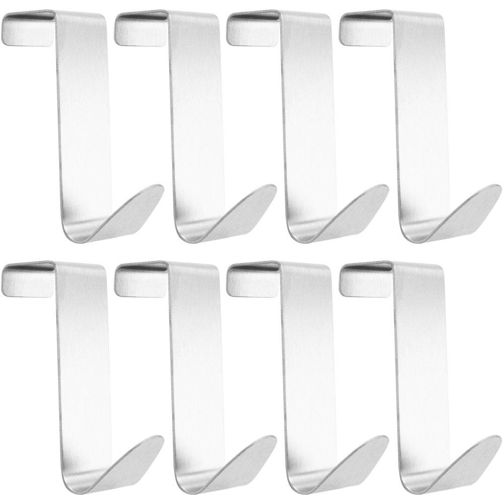 com-four® 8X Türhaken, Doppelhaken aus Edelstahl, 7,5 cm