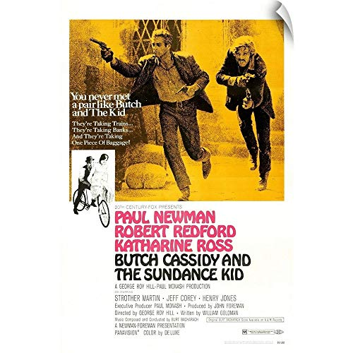 CANVAS ON DEMAND Butch Cassidy and The Sundance Kid - Vintage Movie Poster Wall Decal, 12