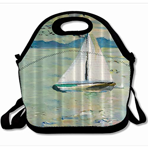 Colombo Zip - Ahawoso Reusable Insulated Lunch Tote Bag Art Monet Sailing Boat Yacht With Birds Watercolor Brushstroke 10X11 Zippered Neoprene School Picnic Gourmet Lunchbox