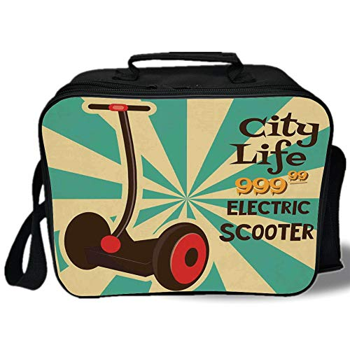 (Insulated Lunch Bag,Vintage Decor,Segway Electric Scooter Icon on Foreground of Pop Art Style Stripe Urban Transport,Multi,for Work/School/Picnic, Grey)