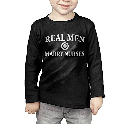 ZheuO Boys & Girls Baby Real Men Marry Nurses Soft 100% Cotton Tee Unisex Black 2 - Mattress Banner Reviews