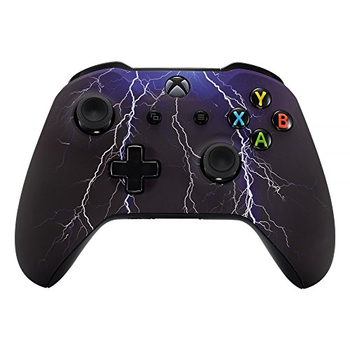 eXtremeRate Purple Lightning Patterned Faceplate Cover, Soft Touch Front Housing Shell Case, Comfortable Soft Grip Replacement Kit for Microsoft Xbox One X & One S Controller
