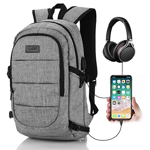 BestSounds Laptop Backpack,Travel Computer Bag with USB Charging Port & Headphone Interface,Slim Durable Business Backpack for Men & Women Fits 15.6 Inch Laptop and Notebook - Grey