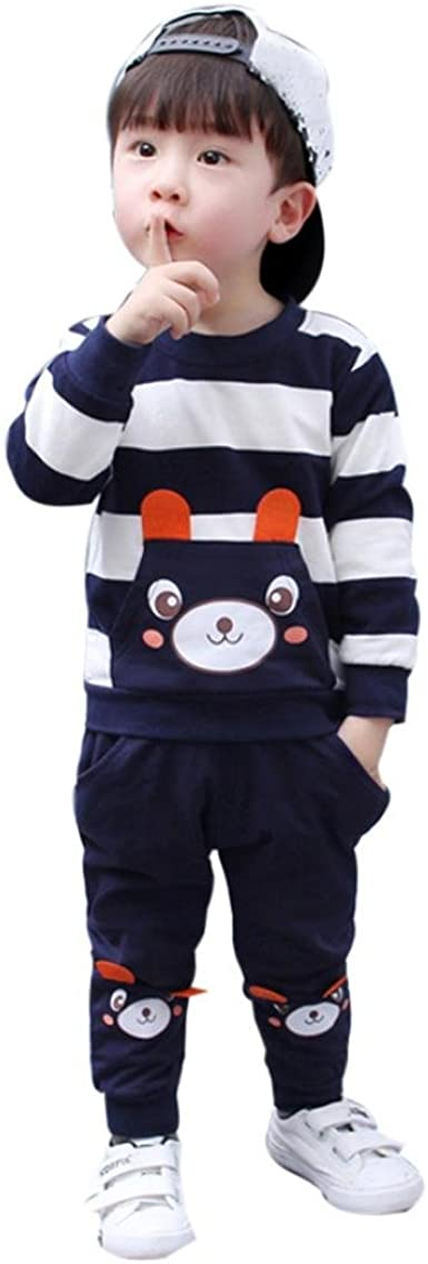 Casual Toddler Baby Girl Boy Outfits Bear Hooded Tops Harem Pants Clothes Set