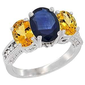 Revoni - Anillo de oro blanco con zafiro azul
