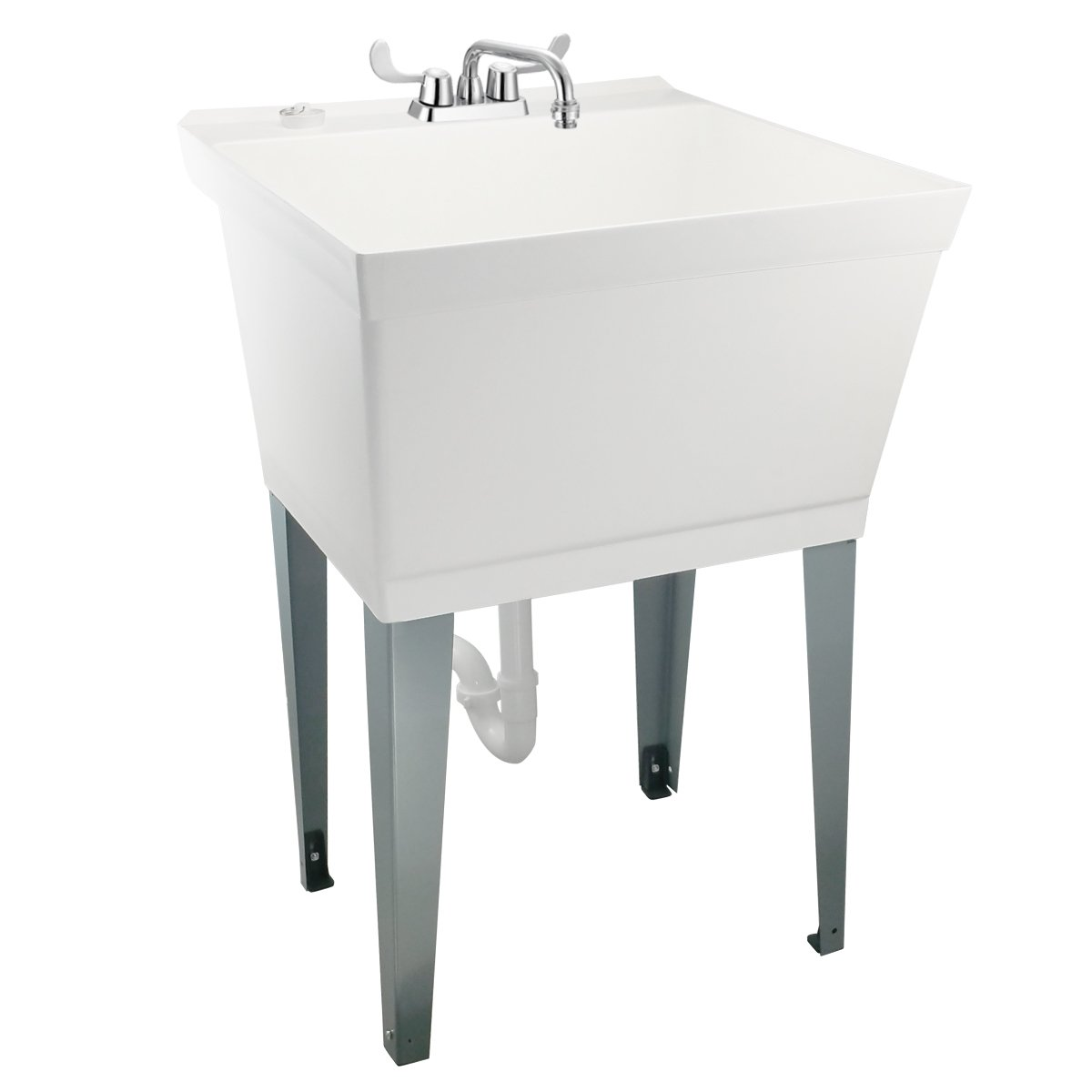 19-Gallon Laundry Utility Tub by MAYA | Heavy Duty Faucet with Winged Handles, Bonus Vacuum Breaker, Adjustable Metal Legs, Complete Installation Set Includes Supply Lines and Piping