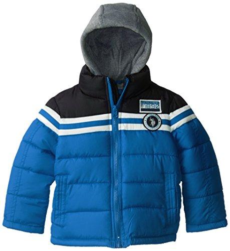 U.S. Polo Association Little Boys' Striped Color Block Puffer Jacket with Fleece Hood, Blue/Black, 4T