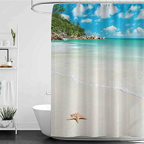 coolteey Shower Curtains Clear Ocean Decor Collection,Big Starfish at Sandy Tropic Beach with Crystal Clear Sea Exotic Island Dream Spaces,Cream Turquoise W48 x L84,Shower Curtain for - Tropic Ocean Stripes Rug Multi