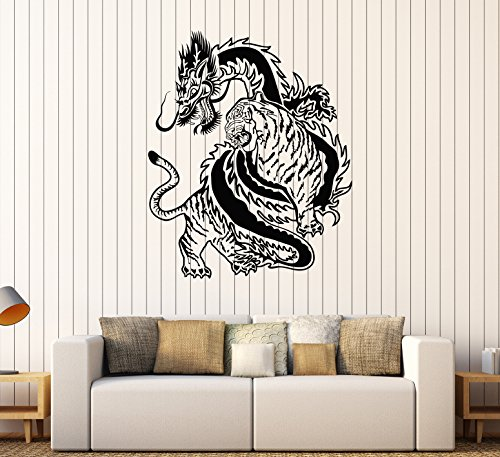 Vinyl Wall Decal Chinese Dragon Tiger Fight China Asian Art Stickers (307ig) Matte Black