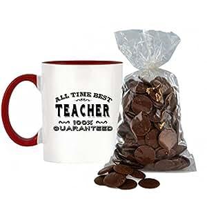All Time mejor Maestro 100% garantizada diseño bicolor taza con color rojo asa y interior incluye 200G Bolsa de Chocolate con leche botones.