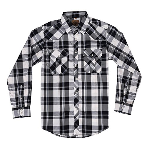 Men's Casual Long Sleeve Plaid Shirt with Pearl Snaps (White/ Black #16,M) ()
