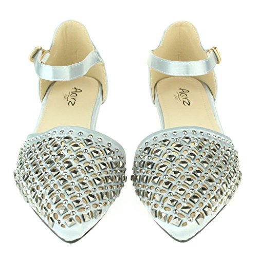 Frau Damen Kristall Diamant Abend Hochzeit Party Abschlussball Braut Ballett Wohnung Sandalen Schuhe Größe Silber