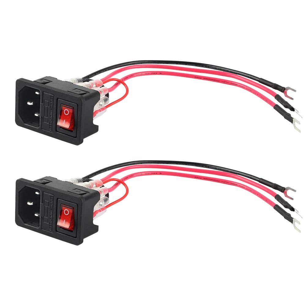 Pack of 2 FYSETC 3D Printer Power Switch 220V//110V 10A Short Circuit Protection Socket Inlet Module Plug with 250V Fuse Switch for Anet A8 Creality Ender 2 and Most Printer