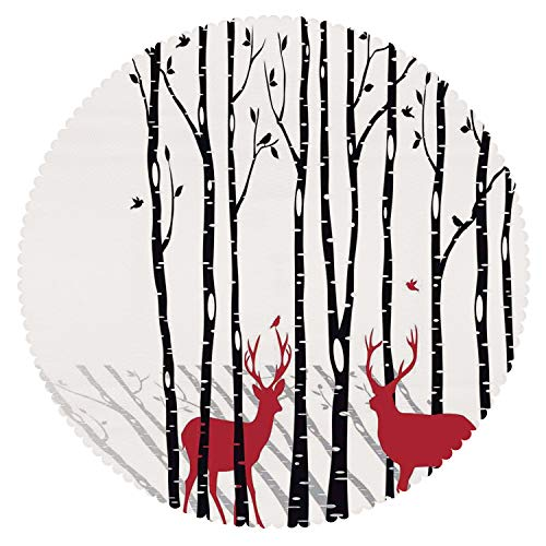 iPrint Round Tablecloth [ Antlers Decor,Deer Tree Forest Backdrop with Red Holiday Theme Flying Birds Leaves Branch Reindeer ] Home Accessories Set