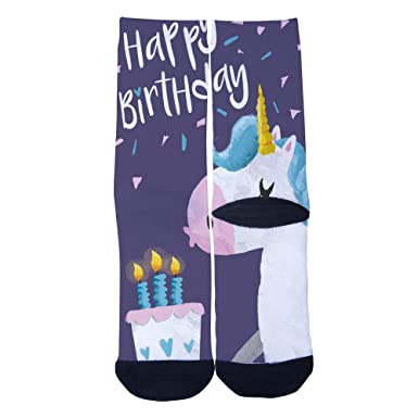 bccc4fdccdd1b VariClouds Men's Women's Custom Happy Birthday Unicorn Socks Creative  Casual Fashion Crew Socks Black