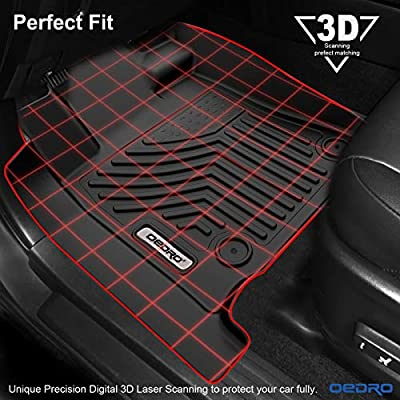 oEdRo Floor Mats Compatible for Toyota Tundra 2014-2020 Double Cab/Crew Max Cab, Unique Black TPE All-Weather Guard Includes 1st and 2nd Row: Front, Rear, Full Set Liners: Automotive