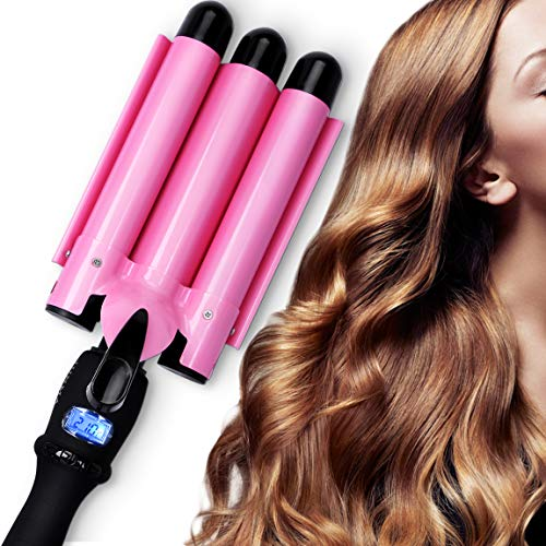 PrettyQueen Curling Iron 3 Barrel 1 Inch Waver Iron Wand Fast Heating with LCD Temperature Display 176°F to 410°F - for All Types of Hair