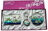 Nacre Mother of Pearl Business Card Holder Compact Mirror Keychain Gift Sets, Business Card Credit Id Card Case Makeup Cosmatic Mirror Key Holder Set Dokdo Island Design