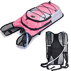 Juboury Hydration Backpack--Hydration Rucksack Bag Includes Free 2L Water Bladder for Running, Hiking, Biking, and for All Other Outdoor Sports Where You Need Water (Pink)