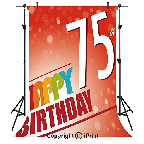 (75th Birthday Decorations Photography Backdrops,Old Age Seventy Five Years Party Invite Retro Style Greeting,Birthday Party Seamless Photo Studio Booth Background Banner)