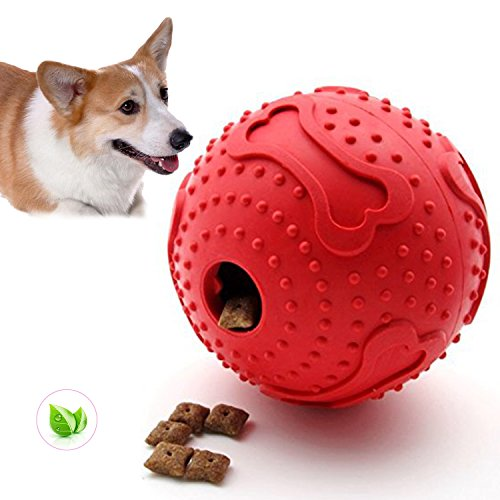 ThinkPet Rubber IQ Treat Ball Interactive Food Dispensing Dog Toy Red Medium Size