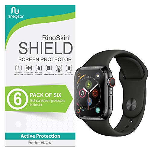 [6-Pack] RinoGear for Apple Watch Screen Protector (Series 4) [Easy Install: NO Lifting Edges] iWatch Protection Flexible HD Crystal Clear Anti-Bubble Film