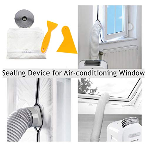 400cm AirLock Window Seal with Tape Scraper for Portable Air Conditioner and Tumble Dryer-Conditioning Units - Air Exchange Guards with Zip and Adhesive Fastener (White) ()