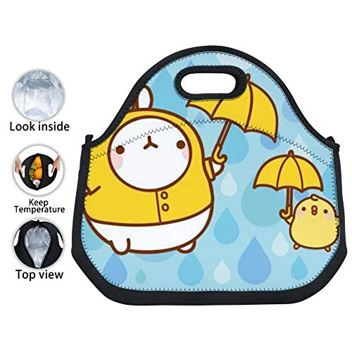 OUBAFun-Keep Neoprene Lunch Bag Cute Mo-Lang Tote Handbag Lunchbox for School Work Office