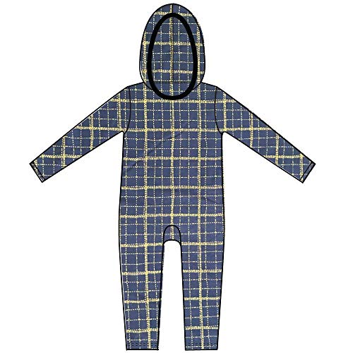 Hooded Baby Romper in Blue & Yellow All In One Onepiece Jumpsuit Playsuit Unisex