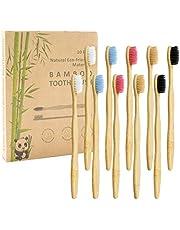 Bamboe tandenborstel, verpakking van 10 stuks, 5 kleuren, natuurlijke zachte borstelharen, biologisch afbreekbaar, milieuvriendelijke bamboe tandenborstel voor dagelijks gebruik met het gezin