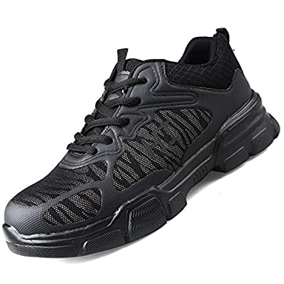 CVAYU Steel Toe Safety Shoes for Women Men, Lightweight Breathable Anti-Piercing Non Slip Luminous Casual Work Sneakers