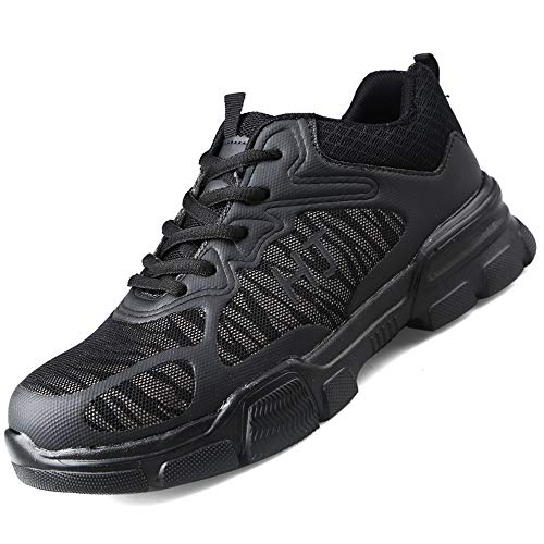 CVAYU Steel Toe Safety Shoes for Women Men, Lightweight Breathable Anti-Piercing Non Slip Luminous Casual Work Sneakers (11.5 Women / 9.5 Men, Black)