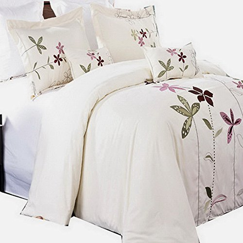 Duvet Cover Ivory Cream Color Full Queen Embroidered Floral Pattern Lavender Purple Flowers 5 Piece Lightweight Bedding with Pillows and Pillowcases (Embroidered Floral Duvet)