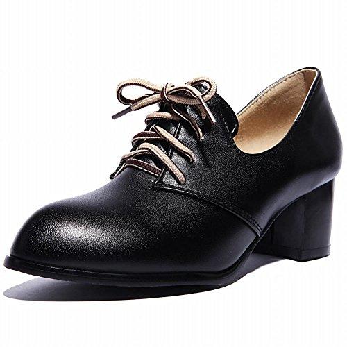 Moda Donna Carolbar Allacciatura Retrò Vintage Mid Scarpe Grosso Tallone Heel Nero