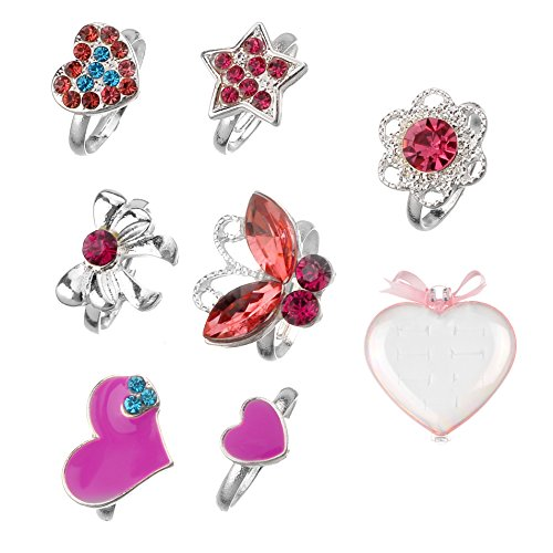 (Unique Queen Aganippe Adjustable Rings Set for Little Girls, Colorful Cute Crown Heart Rings for Kids …)