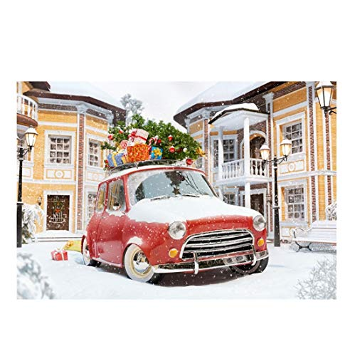 Yeele Christmas Photography Background 6x4ft Outdoor Christmas Tree Gift Box Car Building Street Light Bench Heavy Snowing Xmas Decoration Photo Backdrops Pictures Photoshoot