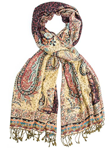 Bohomonde, Hana Reversible Cashmere Silk Pashmina Scarf, hand made in India (Brown/Blue/Black)