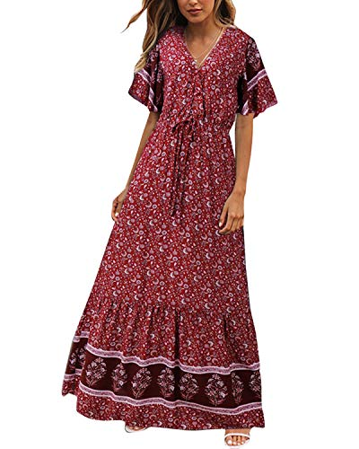(Vintage Floral Dress,Ruffle Trim Sleeve Tie Front Empire Flowy Long Dress Red M)